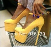 16cm women thigh high heel pumps yellow/orange Brand pointed toe platform shoes women ankle strap wedding shoes