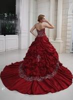 Ball-Gown Princess Sweetheart Taffeta Red Wedding Dress With Embroidery Ruffle Beadwork  HWGJWD220