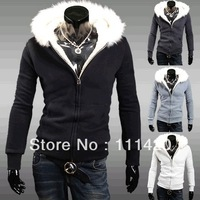2013 Hot Sale High Quality Men's Fur Hooded Men Sort Sweatshirts Cashmere Cardigan Men's Hoodies