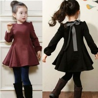 (100-140cm)  5pcs/lot  Fashion Korean Style Solid Flocking Baby Princess Girl Dress Long Sleeve Winter Children Dresses Clothes
