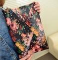 2013 punk oil painting clutch rivet day clutch bag envelope bag shoulder bag cross-body women's handbag black multi-color