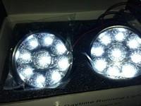 2 X Super Bright White Round 9W Car LED Fog Light Head Lamp DRL Daytime Running Light Car Styling
