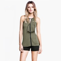 2013 new women PU leather trim trim flared neck vest top with pleated front panels trim