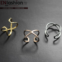 18KGP gold plated fashion limitless rings middle finger wedding ring 316L stainless steel jewelry wholesale free shipping