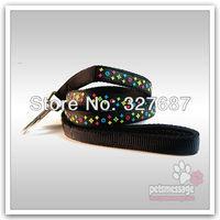 Free Shipping Dog Leash Pet Leash Set Collar Pet Collar PVC Lead Led Collar Pet Product Brwon Black 1pcs/lot #PGLL85003
