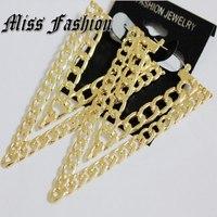 Women Statement Jewelry 3.2 Inches Big Earrings Punk Rock Brinco Gold Earring Link Chain V Shape Triangle Long Dangle Earrings