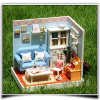 DIY Dollhouse With Dust Cover Free Shipping Miniatures for Decoration Wooden Dolls House