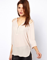 2014 new spring and summer women chiffon blouse \ V neck hollow arrangement design \ nine points sleeve beige chiffon blouse