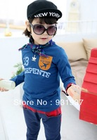 100%cotton boy girl baby long-sleeve t shirt children's clothing shirt autumn2013 kid's clothes2T,3T,4T,5T,6T,7T,8Tfree shipping