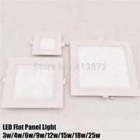 Free shipping 3W/4W/6W/9W/12W/15W/18W/25W led square panel lighting light Downlight AC85-265V Warm Cool white indoor lighting