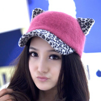 Fashion lady fur hats Leopard baseball cap wholesale winter hat cat ear hat rabbit hair peaked cap for promotion 18 colors mixed