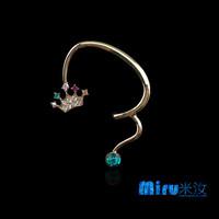 Wholesale Women 18K Genuine Gold Plated Clip Earrings, 2014 New Fashion Crown CZ Rhinestone Inlay Earcuff Earings, A007