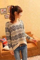 2013 Spring new women's blue and white pattern round neck sweater pullover long sleeve loose sweater bottoming shirt-Z01