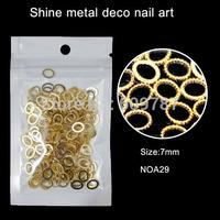 200pcs/lot Gold Oval Nail Decoration Metal Shinny Deco Metal Nail Art Decoration