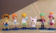 Envío Gratis Anime One Piece Luffy Nendoroid PVC Cambio Cara figura de juguete modelo 8CM 6PCS / SET (China (continental))