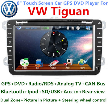 Volkswagen Tiguan Car DVD Player TV CANBUS 3G WiFi Bluetooth Radio Touch Screen GPS Navigation for VW Russian menu free shipping