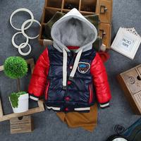 2014 brand baby boy korean europe Design autumn winter warm fleece lining children hooded outerwear coat cotton-padded jackets