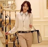 New 2014 Korean Style Long Sleeve Sexy Chiffon Blouse Fashion OL Style Free Shipping (pants on sell)
