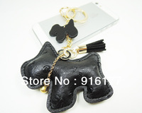 2013 New fashion jewelry women accessories car keychain bag charm novelty item camel leather dog tassel key ring holder kawaii