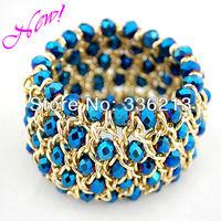 New Design Fashion Bracelet with Metallic Cobalt Blue Crystals, Gold Aluminum Chain