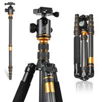 Q666C Professional Carbon Fiber Tripod For SLR Camera / Portable Traveling Tripod + Head / Monopod Changeable / Max Loading 15Kg