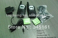 2pc pack Twin T388 PMR/FRS  Talkie Walkie interphone with rechargable batteries+charger and earphones send by Singapore post!
