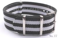 1Pcs No.17-3Black-2white Patchwork Nylon Watch Strap 22MM   Watchband
