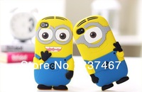 100ps/lot New arrival cute cartoon model silicon material Despicable Me Yellow Minion Cover for iphone Case for iphone 4 4S