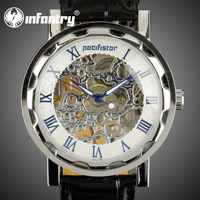 INFANTRY Decent Luxury Men's Silver Skeleton Dial Winding Up Mechanical Wrist Watch Black Leather New Christmas GIFT