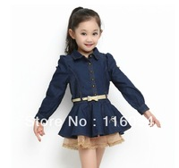 2013 New Western Style Girls Cowboy Dress Long Sleeve Striped Jeans Children's Wear One-Piece Dress With Belt Free Shipping