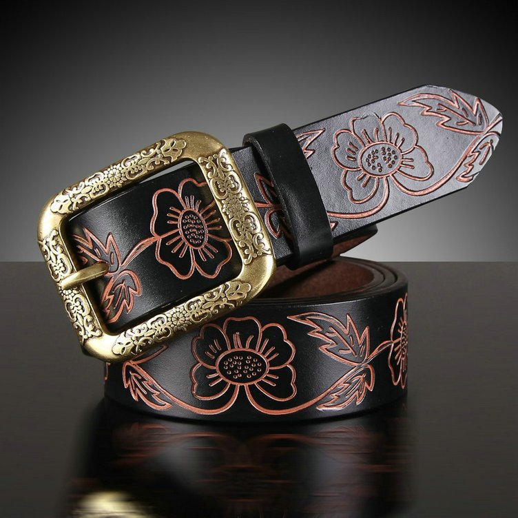 new fashion cowhide carved strap 100% genuine leather belt for women