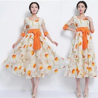 New Hot-selling Autumn and Winter Organza Red Half Sleeve Slim High Quality Holiday Style Women's Dresss 9022#