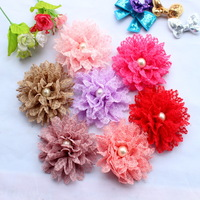 Hot sale 3.8 InchLace Chiffon Flowers with round pearl center Soft Promotion Solid Ballerina Flower wholesale 50PCS accessories