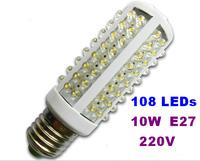 Ultra bright LED bulb 10W E27 220V Cold White light LED lamp with 108 led Spot light 360 degree corn lamp Free shipping Wholesal
