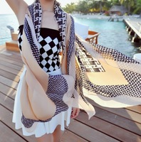 Free Shipping! 2014 New Winter! Fashionable Emulation Silk Houndstooth Women Scarf Shawl,L-206
