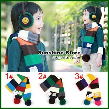 Sunshine store #2D2519  5 pcs/lot (3 colors) baby scarf colorful rainbow stripe winter scarf for childrens Kids Neck Warmer CPAM