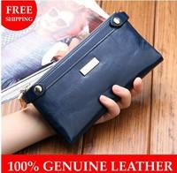 2014 Vintage women wallet genuine leather zipper long women's wallets purse fashion lady cowhide day clutch ID&Card holders