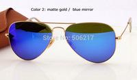2015 Newest top quality brand name original aviator 3025 Sunglasses112/17 matte gold Blue Flash Mirror glasses 58mm new in case