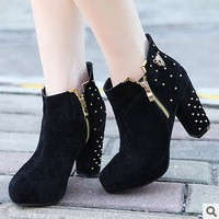 2013 fashion Martin Single boots   Sweet joker rivet thick with high-heeled boots and waterproof side zippers female boots
