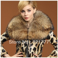 Q026Sheep Phi clothing female leopard collar raccoon hair short paragraph SlimFREE SHIPPING