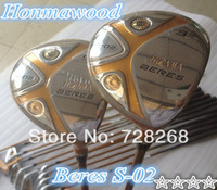 2PCS 4 Stars Golf Honma Beres S-02 Fairway Wood #3-15 / #5-18 Degree With ARMRQ6 49 Graphite Regular Flex Shaft Golf Clubs Woods