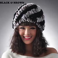 Free Shipping, 100%Real Rex Rabbit Fur Cap, Knitted Fur Hat, Natural Fur*WHOLESALE & RETAIL SU-1344