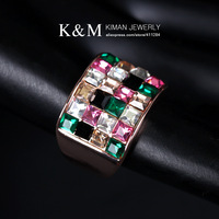 (Min order is $10) Free Shipping New Arrival Three Colors Rhinestone Ring Illustrious Jewelry for Women Mixed Order Accepted