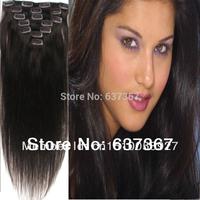 15''~22'' #2 Dark Brown 70g Virgin Brazilian Human Hair Clip In Remy Human Hair Extensions Peruvian Straight Virgin Hair
