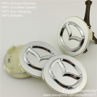 [RECOMMENDED] Mazda 3 6 Wheel Center Hub Cap 56mm Silver With Chrome Logo