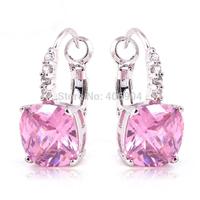 Wholesale Elegant Sweet Lady Pink Sapphire 925 Dangle Hook Silver Earring For Women Earrings Gift Free Shipping