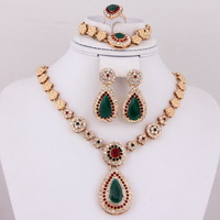 New Arrival 4pcs Crystal Top Quality African Costume Gold Plated Vintage Zircon Bridal Birthday Gifts Women Wedding Jewelry Sets