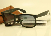 Top selling men women brand name sunglasses rb 4165 Justin 622/8g Matte Black sunglasses gradient gray lens new in original box