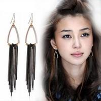 western style Pub statement earrings gold plated new fashion long tassel earrings for women 2014 new