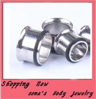 Free Shipping Wholesales 100pcs/lot  Mix 8 Size  Stainless Steel Single Flare Flesh Tunnel  Piercin Ear Plugs
